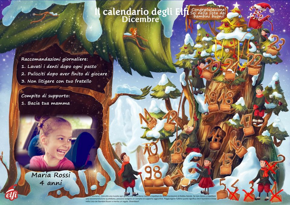 Calendario dell'Avvento gratuito - Elfisanta.it
